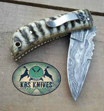 Custom Handmade Damascus Steel EDC Folding Knife With Pocket Clip