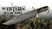 Full Tang Custom Handmade Western Outlaw Damascus Hunter Bowie Knife