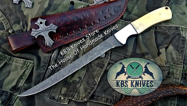 Custom Handmade Raindrop Damascus Steel Fishing Fillet Knife