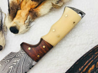 Full Tang Custom Handmade Damascus Steel Gut Hook Skinning EDC Knife