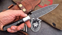 Custom Handmade Damascus Buffalo Horn Tactical Self Defense DAGGER Knife