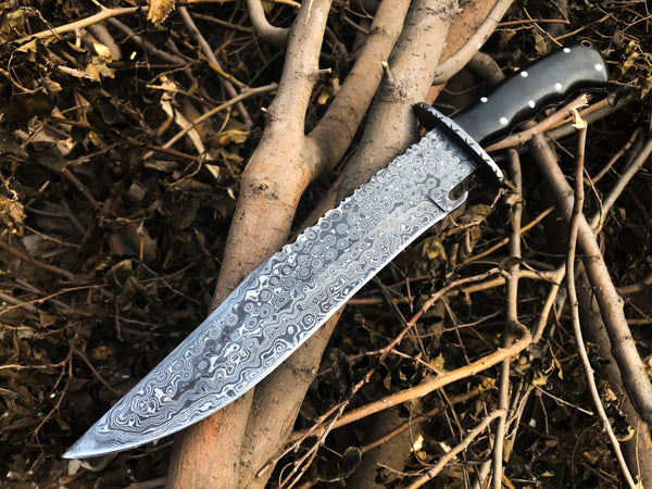 New Full Tang Custom Handmade Damascus Steel Bowie Knife