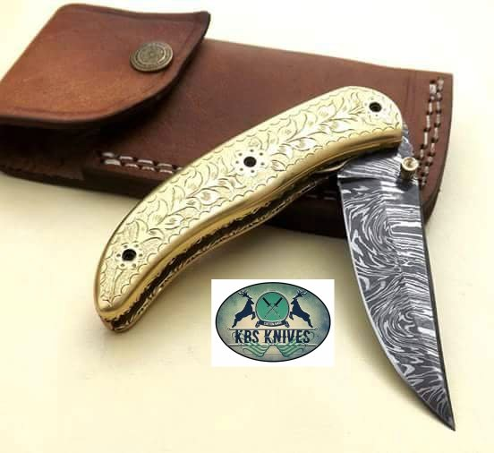 Custom Handmade Damascus Steel Pocket/Folding Knife
