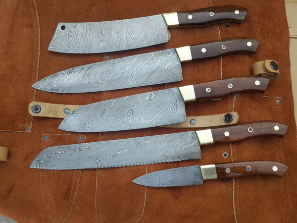 Damascus steel handmade kitchen knives set
