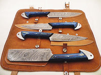 New Custom Handmade Damascus Steel Kitchen Knives Set