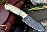 Custom Handmade Damascus Steel Guthook Skinning Knife