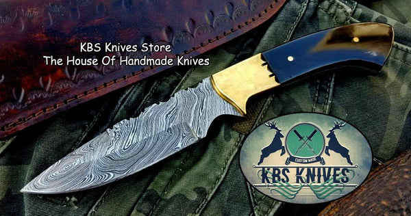 Custom Handmade Twist Damascus Steel Narrow Blade Hunting Knife