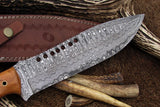 Handmade Damascus Steel Big Hunting Bowie Knife
