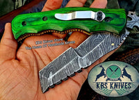 Custom Handmade Damascus Steel Tracker Blade Folding Knife With Pocket Clip