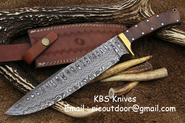 Damascus Hand Made Bowie Knife