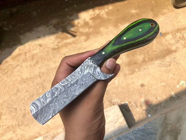 Full Tang Custom Handmade Damascus Steel Straight Razor Blade Knife
