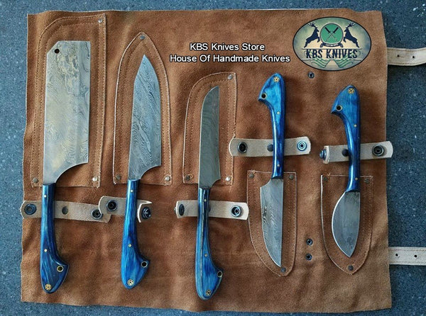 Full tang Custom handmade Damascus kitchen/outdoor Hunting Set