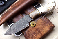 Custom Handmade Damascus Wood-New Zealand Red Stag Hunting Skinning Knife