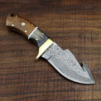 Full Tang Custom Handmade Damascus Steel Raindrop Guthook Skinning Knife