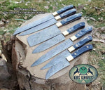 Full Tang Custom Handmade Damascus Steel Kitchen Knives Set