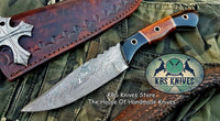 Custom Handmade Damascus Steel Hunting Skinning Knife
