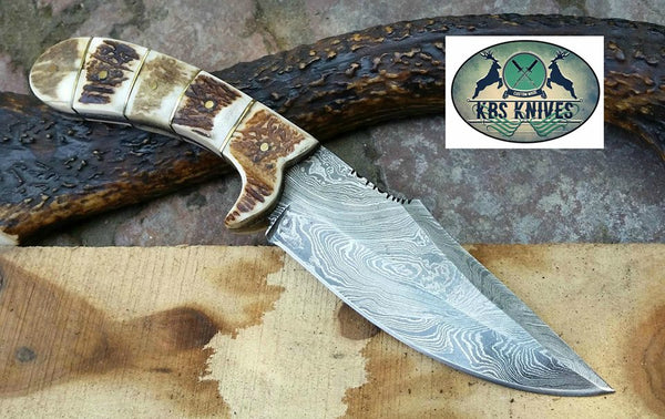 Custom Handmade Damascus Steel Deer Antler Horn Knife