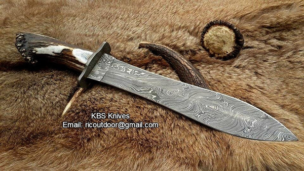 Damascus Double Edge Hunter Bowie