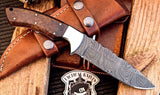 Damascus steel handmade hunting knife