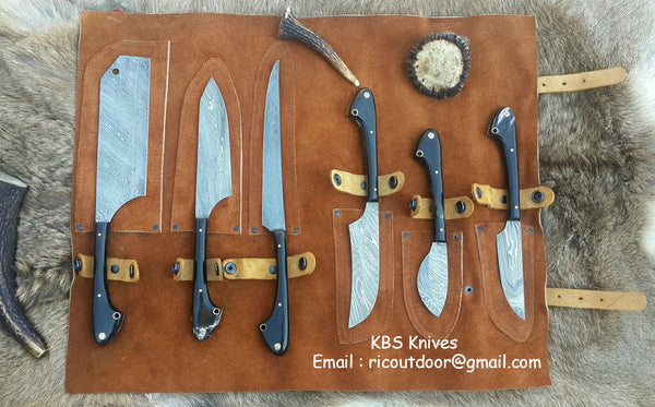 Custom Handmade Damascus Steel Outdoor Hunting Set