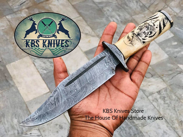 New Custom Handmade Damascus Steel Hunting Bowie Knife