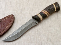 CUSTOM DAMASCUS HUNTING KNIFE BEAUTIFULLY HAND CARVED BLACK LAMINATED WOOD