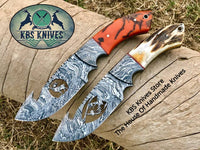 New Full Tang Custom Handmade Damascus Steel Wirecut Blades Guthook Hunting Skinning Knives