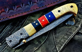 Custom Handmade Damascus Blade Folding Pocket Knife