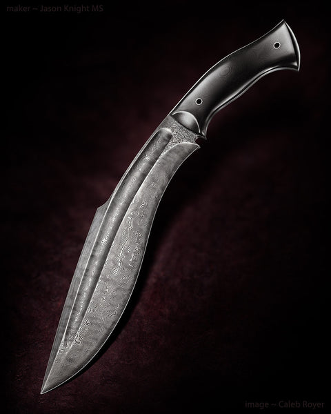 Black G10 Full Tang Damascus Kukri Knife