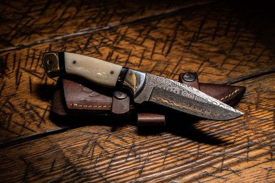 RAINDROP DAMASCUS HUNTING KNIFE