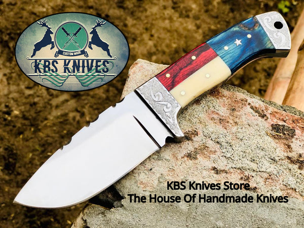New Custom Handmade D2 Tool Steel Hunting Skinning Knife