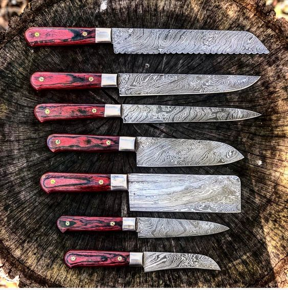 07 Pcs Custom Handmade Damascus Steel Kitchen Knives Set