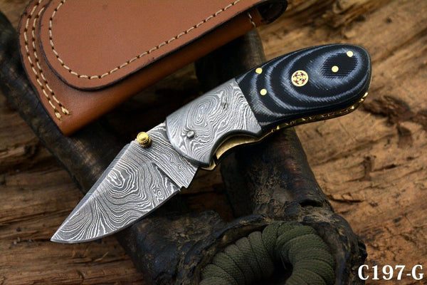 Damascus EDC Mini Folding Pocket Knife
