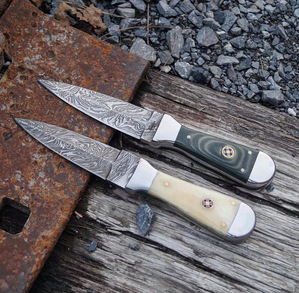 Pair Of Custom Handmade Damascus Steel Boot Knife
