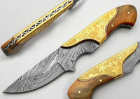 Engraved Damascus Skinner Knife
