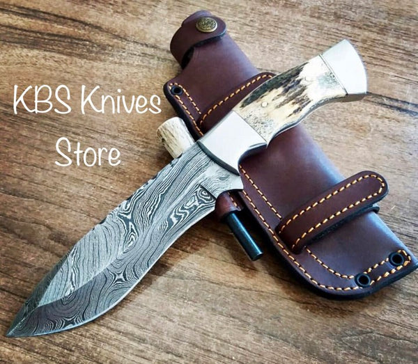 Full Tang Custom Handmade Damascus Hunting Knife