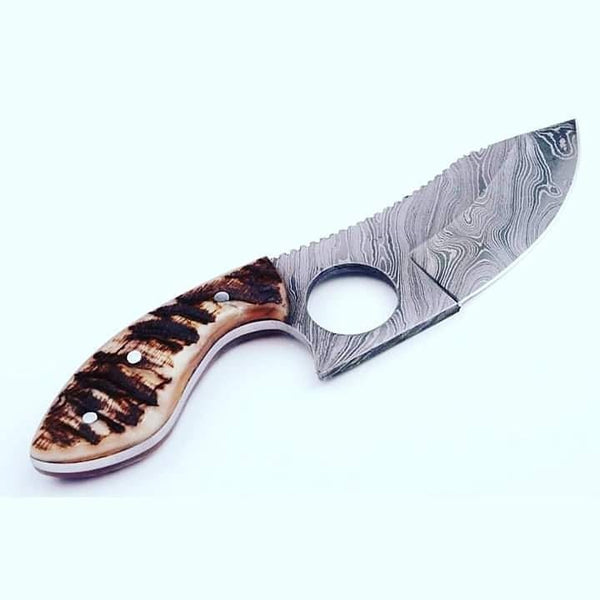 Finger Hole Damascus Steel Skinning Knife