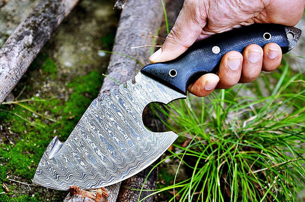 Damascus Steel Gut Hook Skinning Knife