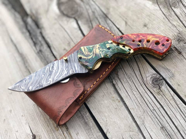 Damascus Folding Pocket Knife