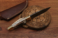 Natural Sambar Stag Horn-Brass Hunting Skinning Knife