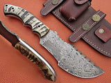 Full Tang Custom Handmade Damascus Steel Tracker Knife