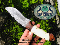Custom Handmade Raindrop Damascus Steel Hunting Camping Knife