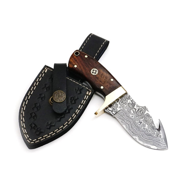 Damascus EDC Guthook Knife