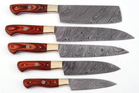 Damascus Kitchen Knives Set
