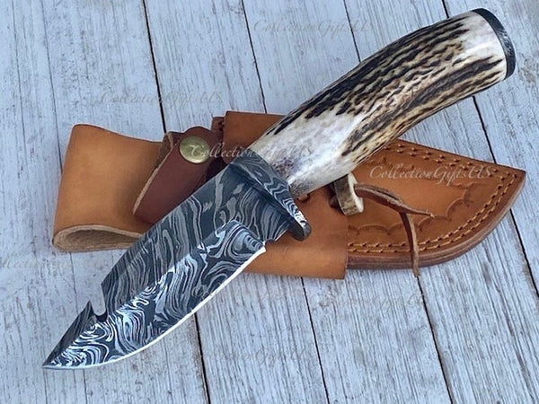 BOLD STAG- Hand Forged Fire Damascus Hunting Knife