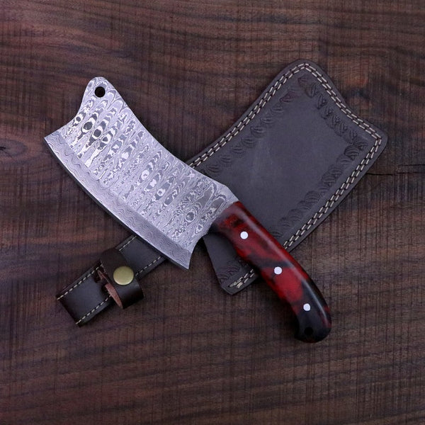 FULL TANG CUSTOM HANDMADE DAMASCUS STEEL CLEAVER KNIFE