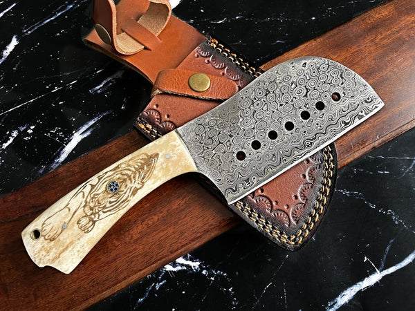 Raindrop Damascus Cleaver Knife
