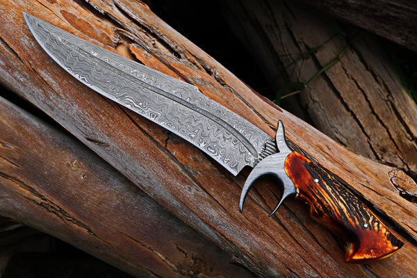 Custom Handmade Damascus Steel Hunter Bowie Knife