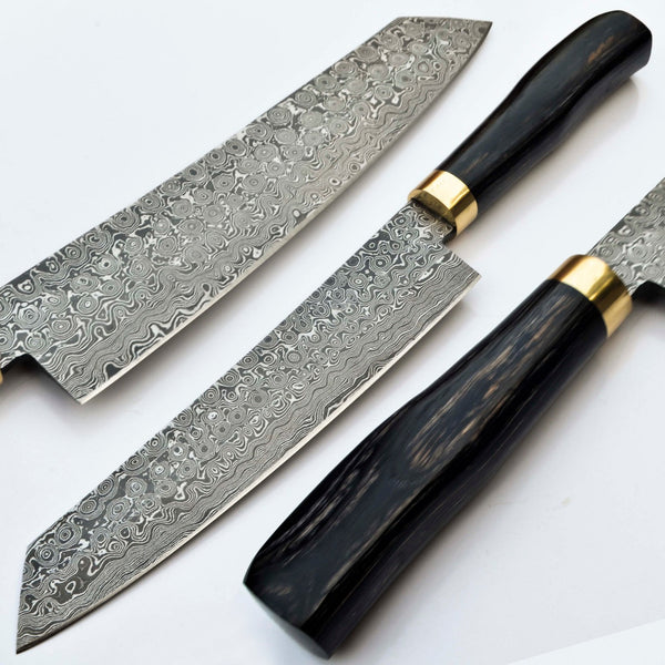 Custom Handmade Raindrop Damascus Steel Chef Knife