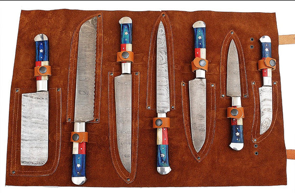 Texas Flag Handle Damascus Steel Kitchen Knives Set
